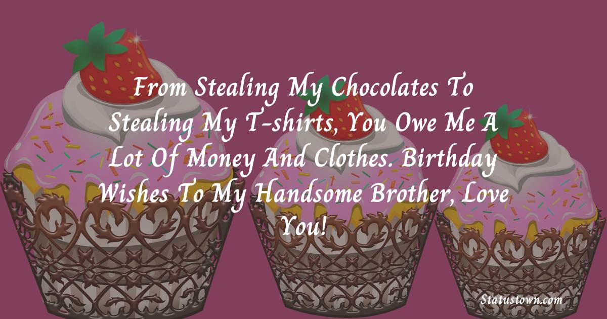 Birthday Wishes for Brother -   From stealing my chocolates to stealing my T-shirts, you owe me a lot of money and clothes. Birthday wishes to my handsome brother, love you!