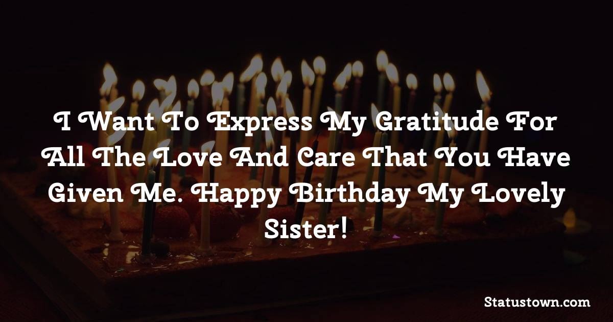 Birthday Wishes for Sister -  I want to express my gratitude for all the love and care that you have given me. Happy birthday my lovely sister!