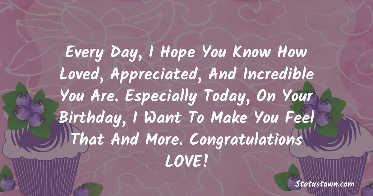 Birthday Wishes for Boyfriend -  Every day, I hope you know how loved, appreciated, and incredible you are. Especially today, on your Birthday, I want to make you feel that and more. Congratulations LOVE!