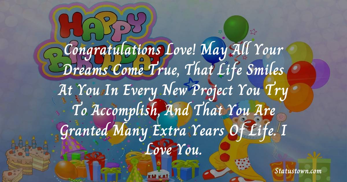Birthday Wishes for Boyfriend -  Congratulations Love! May all your dreams come true, that life smiles at you in every new project you try to accomplish, and that you are granted many extra years of life. I love you.