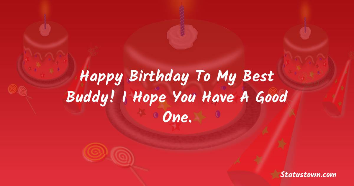 Birthday Wishes for Friends -   Happy birthday to my best buddy! I hope you have a good one.