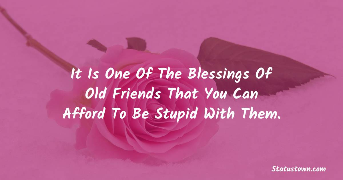 Birthday Wishes for Friends -   It is one of the blessings of old friends that you can afford to be stupid with them.