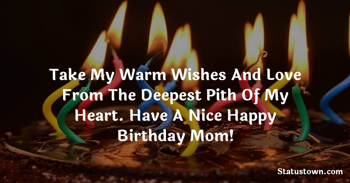 Take my warm wishes and love from the deepest pith of my heart. Have a nice happy birthday mom!   - Birthday Wishes for Mother