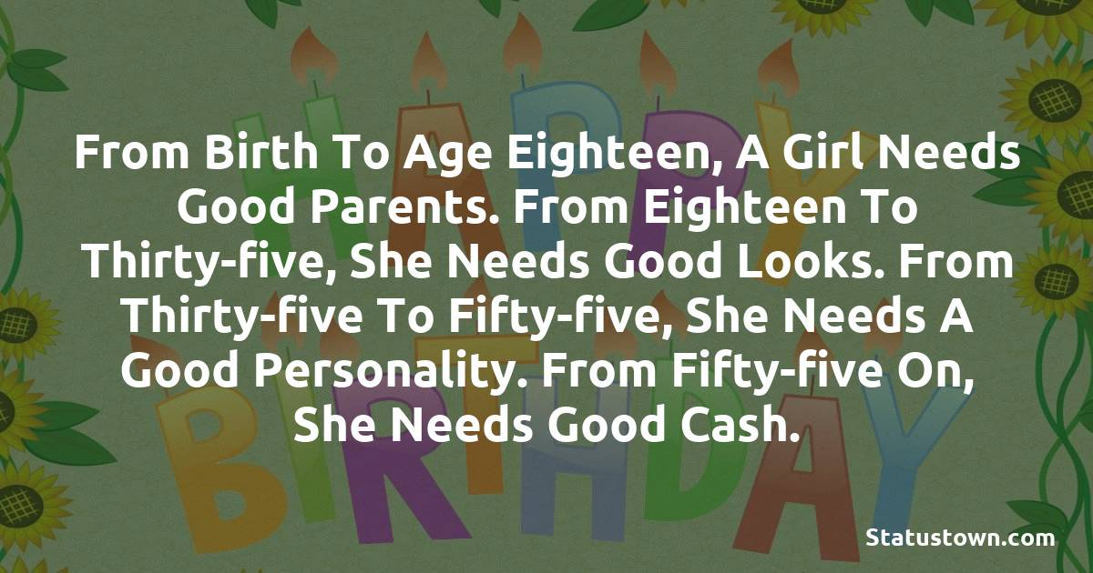 Happy Birthday Wishes -  From birth to age eighteen, a girl needs good parents. From eighteen to thirty-five, she needs good looks. From thirty-five to fifty-five, she needs a good personality. From fifty-five on, she needs good cash.