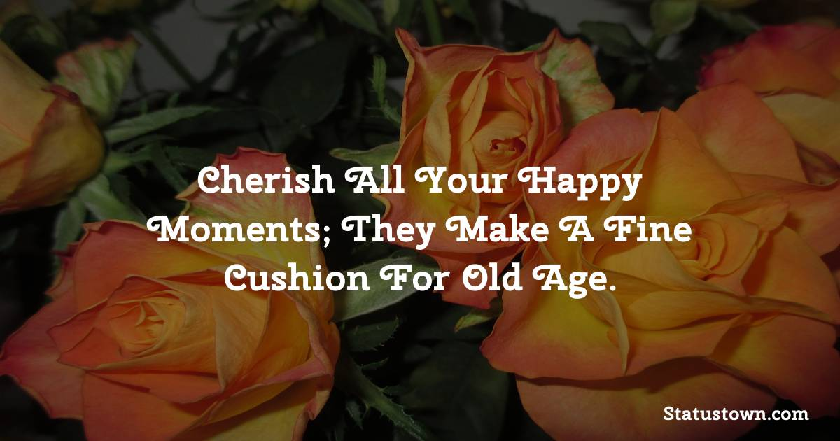 Happy Birthday Wishes -  Cherish all your happy moments; they make a fine cushion for old age.