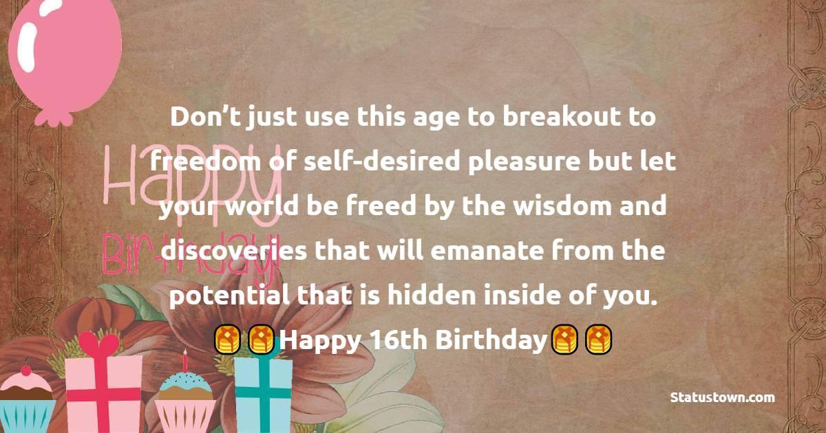 16th Birthday Wishes
