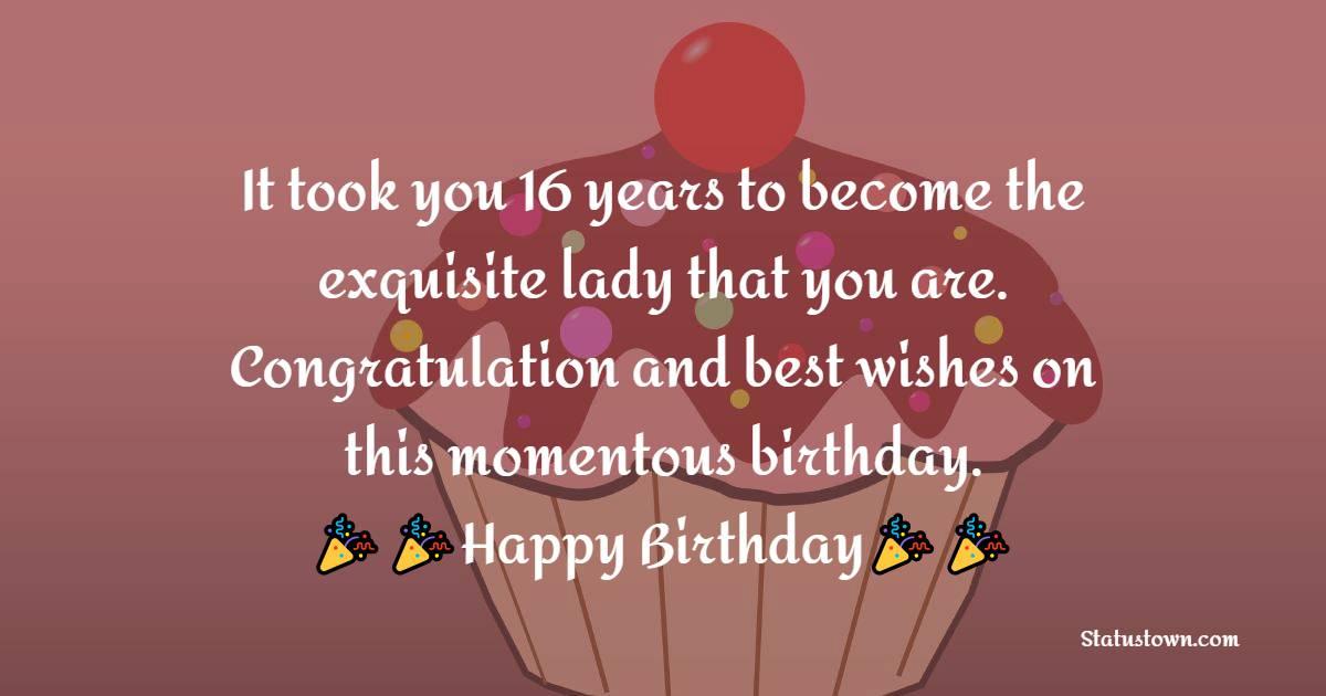 Touching 16th Birthday Wishes