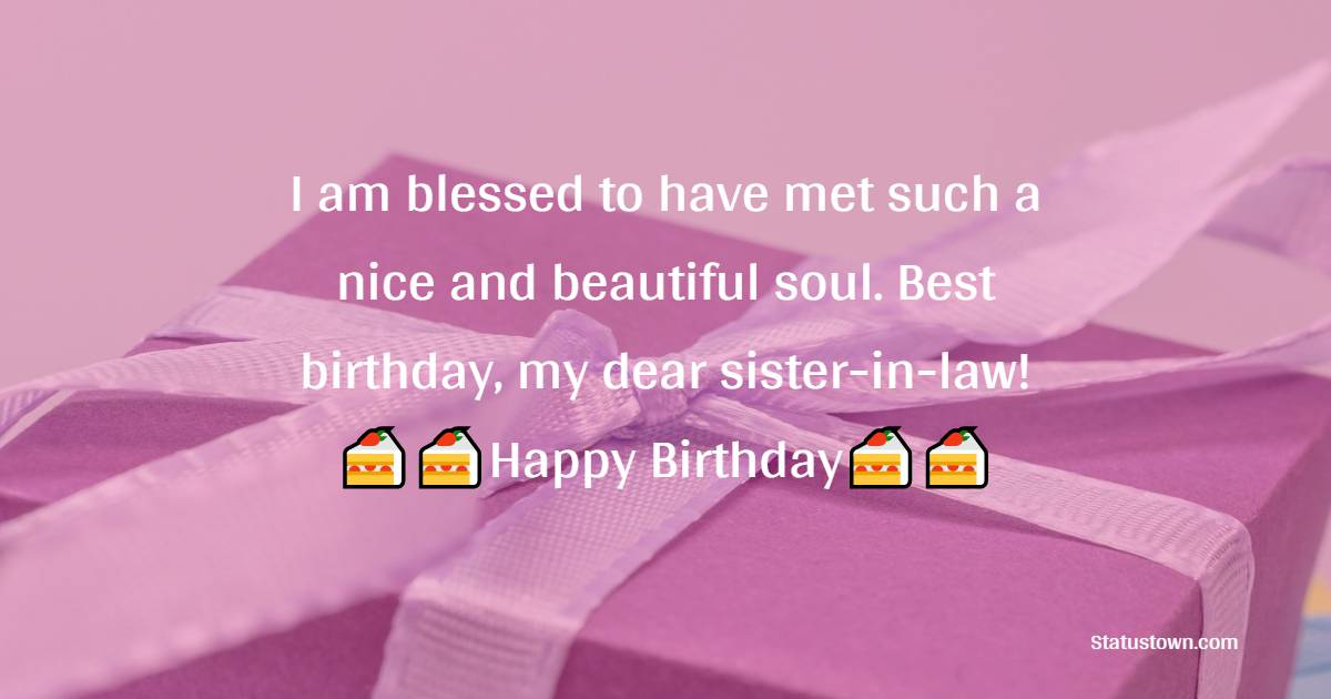 I am blessed to have met such a nice and beautiful soul. Best birthday, my dear sister-in-law!  - Birthday Wishes For Sister In Law