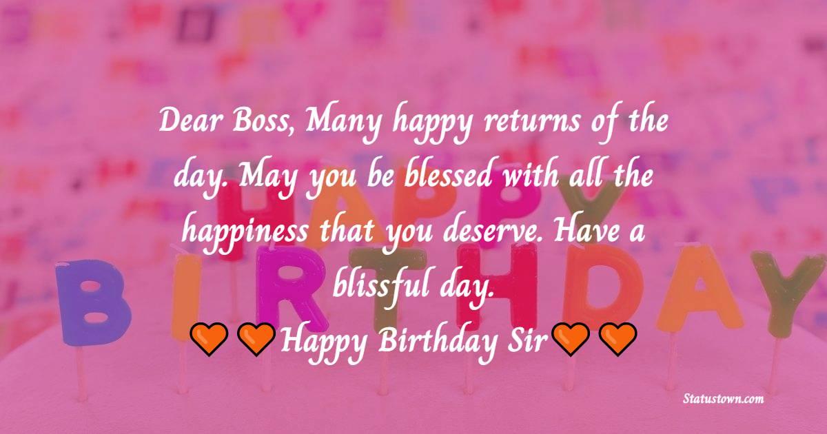 Birthday WhatsApp Status  for Boss