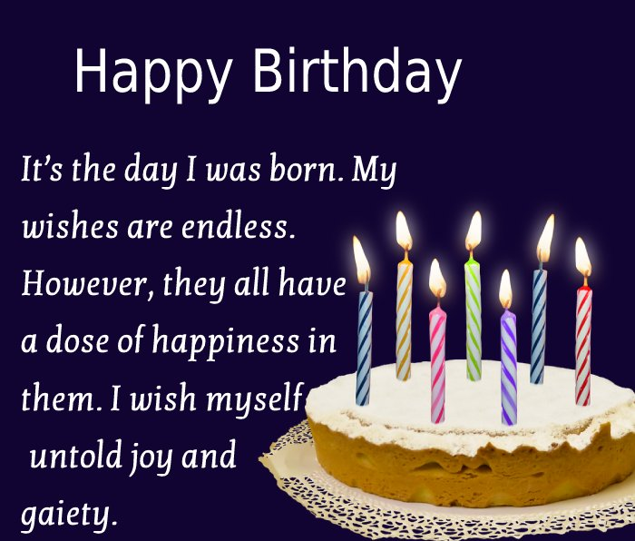 Sweet  Birthday Wishes for Myself