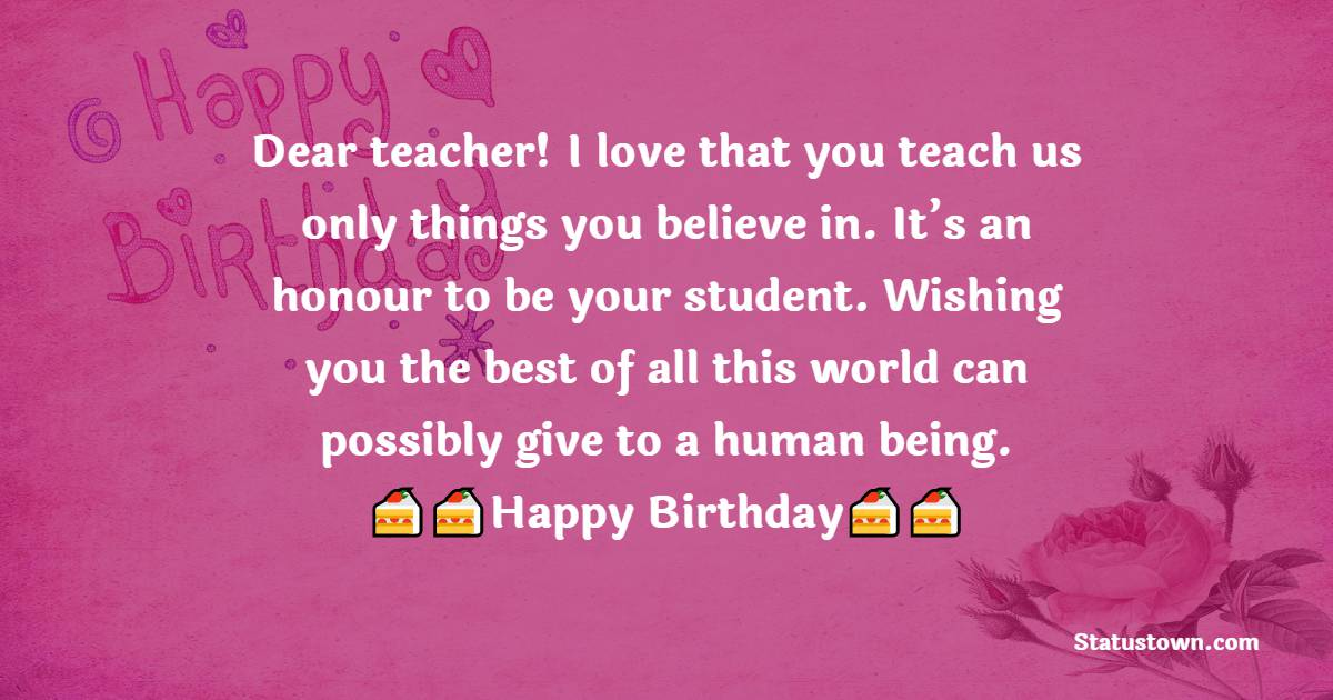 Touching Birthday Wishes for Teacher