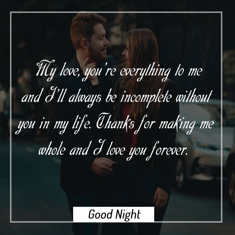 Sweet good night messages for wife