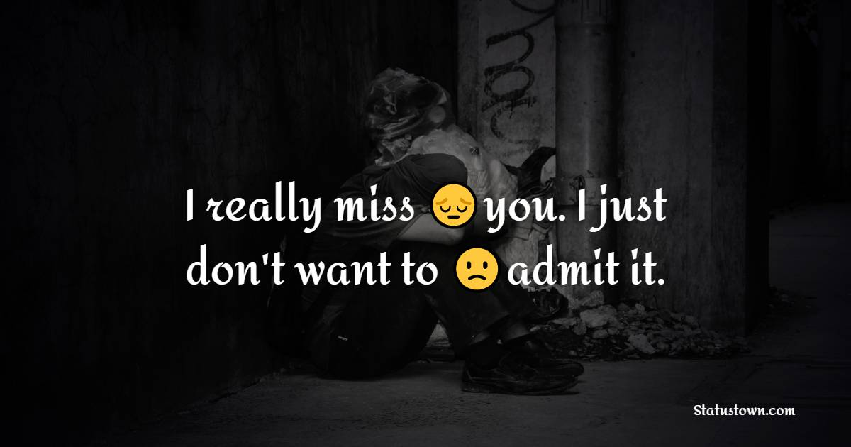 I really miss you. I just don't want to admit it.