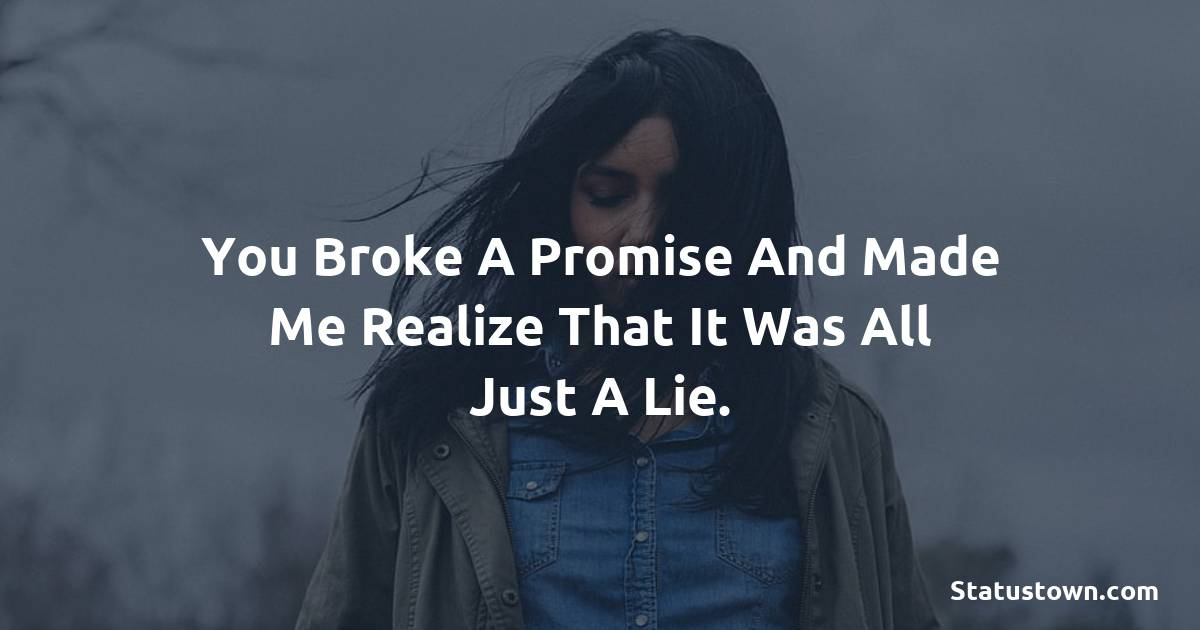 You broke a promise and made me realize that it was all just a lie. - breakup status