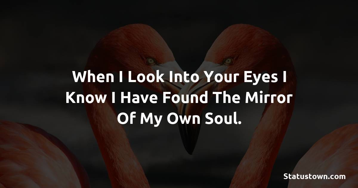 When i look into your eyes I know i have found the mirror of my own soul.