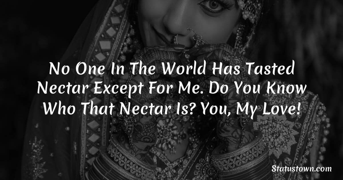 No one in the world has tasted nectar except for me. Do you know who that nectar is? You, my love!