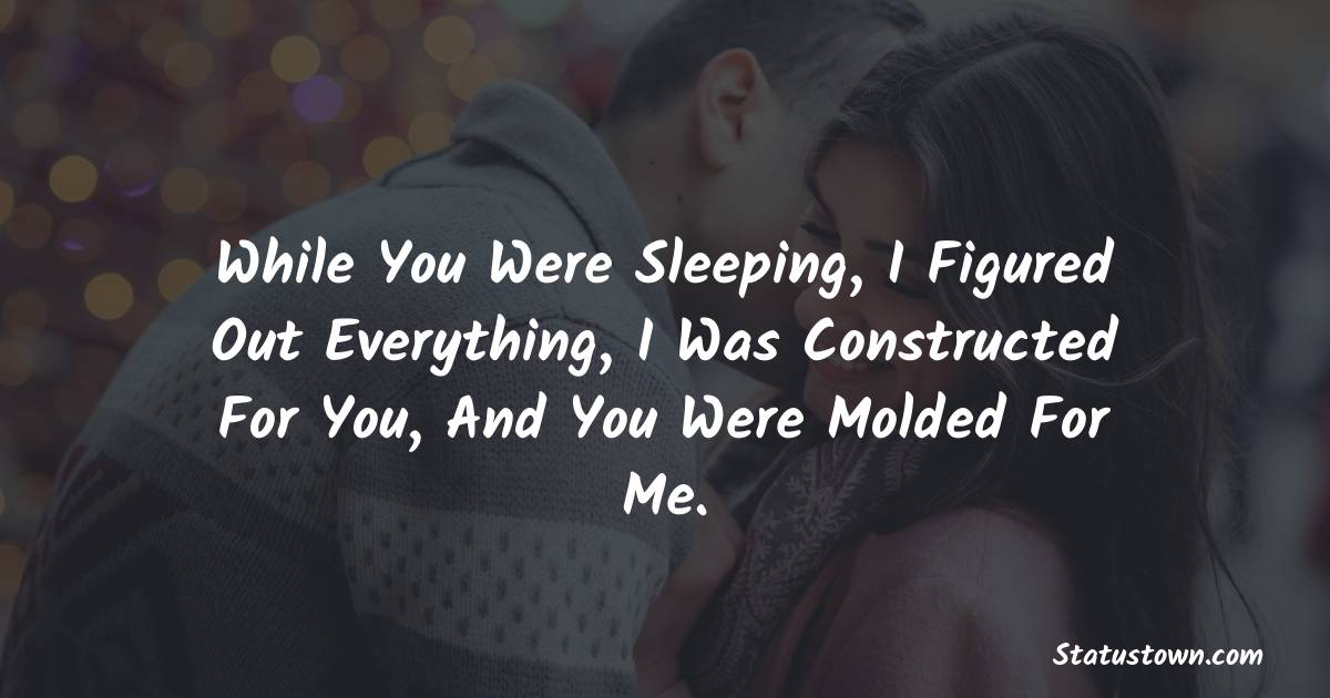 While You Were Sleeping, I Figured Out Everything, I Was Constructed For You, And You Were Molded For Me.