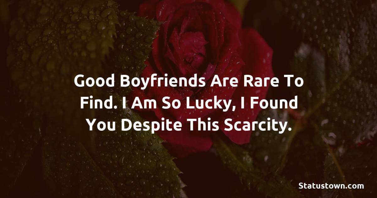 Good boyfriends are rare to find. I am so lucky, I found you despite this scarcity.