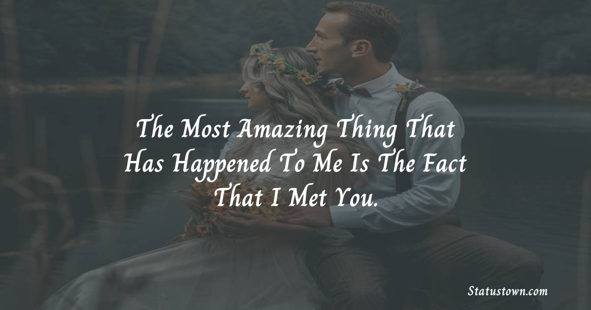 The most amazing thing that has happened to me is the fact that I met you. - love status for boyfriend