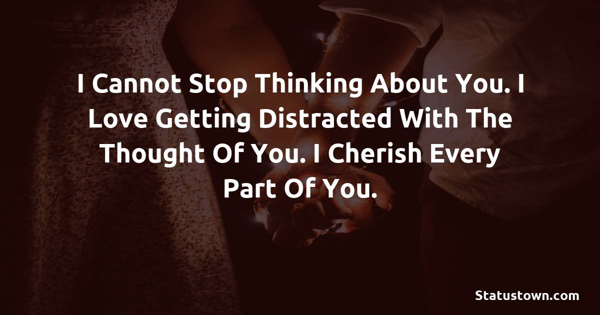 I cannot stop thinking about you. I love getting distracted with the thought of you. I cherish every part of you.