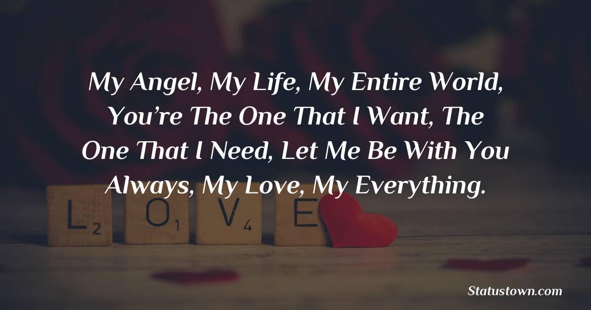 My angel, my life, my entire world, you're the one that I want, the one that I need, let me be with you always, my love, my everything. - love status for girlfriend