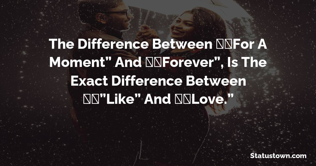 """The difference between """"For a Moment"""" and """"Forever"""", is the exact difference between '""""Like"""" and """"Love."""""""