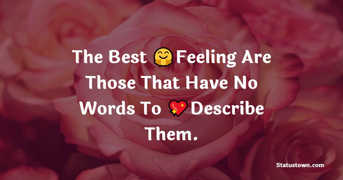 The Best Feeling Are Those That Have No Words To Describe Them.