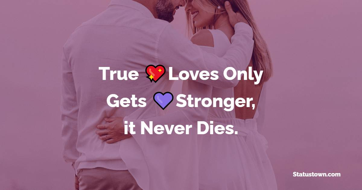 True Loves Only Gets Stronger, it Never Dies.