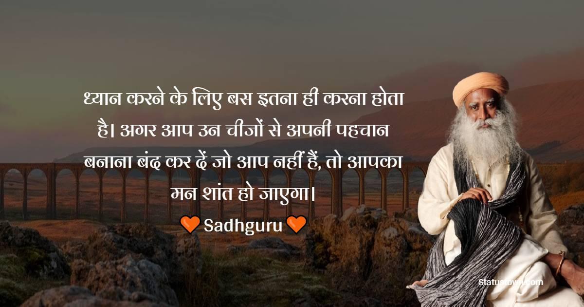 Sadhguru Quotes - ध्यान करने के लिए बस इतना ही करना होता है। अगर आप उन चीजों से अपनी पहचान बनाना बंद कर दें जो आप नहीं हैं, तो आपका मन शांत हो जाएगा।