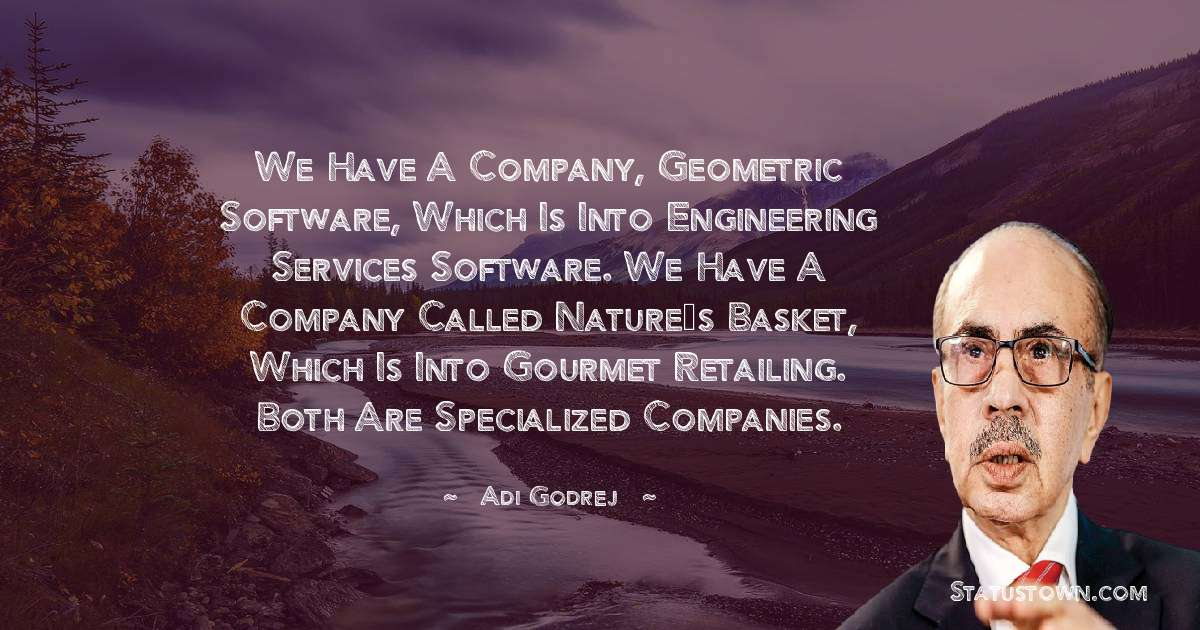 We have a company, Geometric Software, which is into engineering services software. We have a company called Nature's Basket, which is into gourmet retailing. Both are specialized companies.