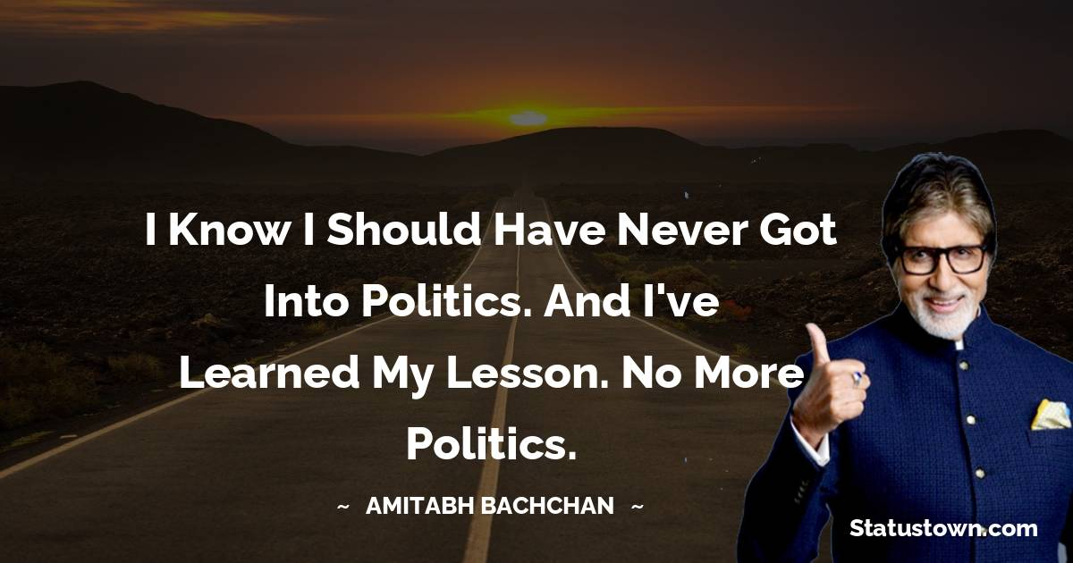 I know I should have never got into politics. And I've learned my lesson. No more politics.