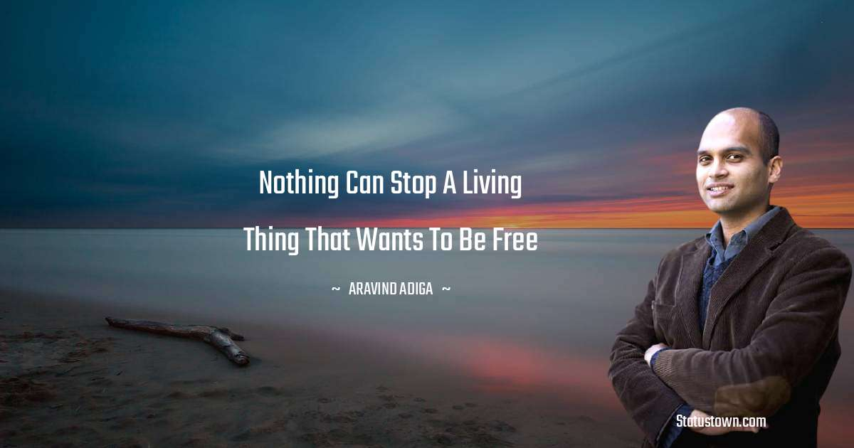 Aravind Adiga Quotes - Nothing can stop a living thing that wants to be free