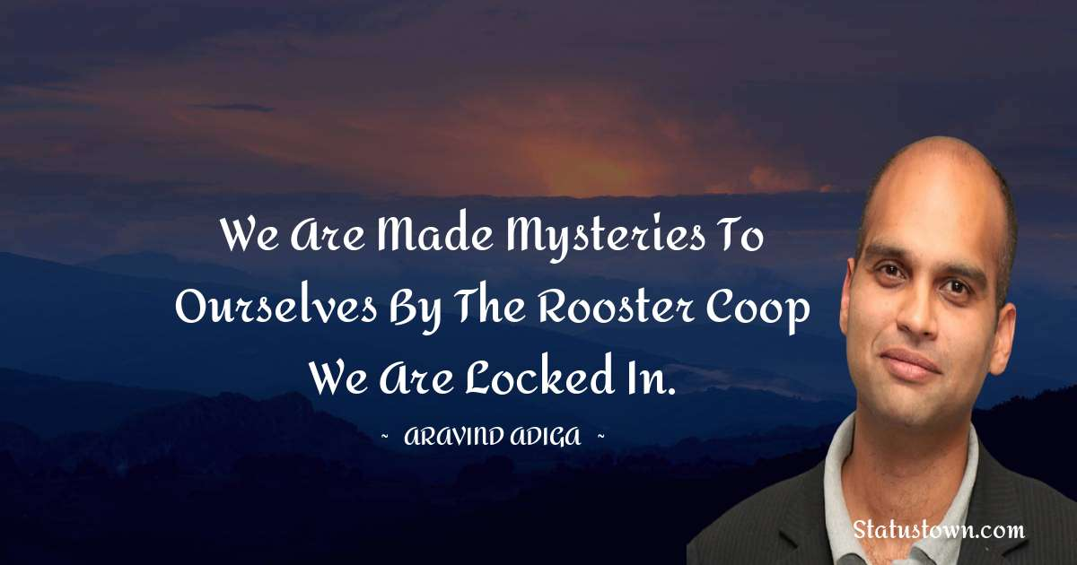 Aravind Adiga Quotes - We are made mysteries to ourselves by the Rooster Coop we are locked in.
