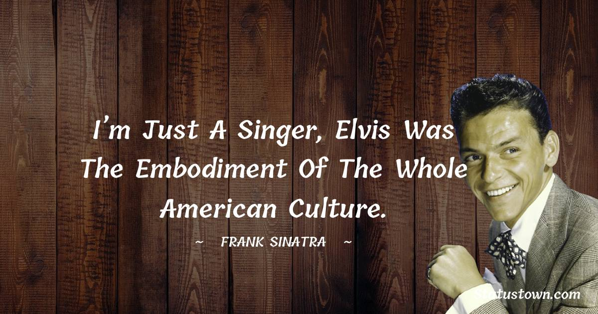 I'm just a singer, Elvis was the embodiment of the whole American culture.