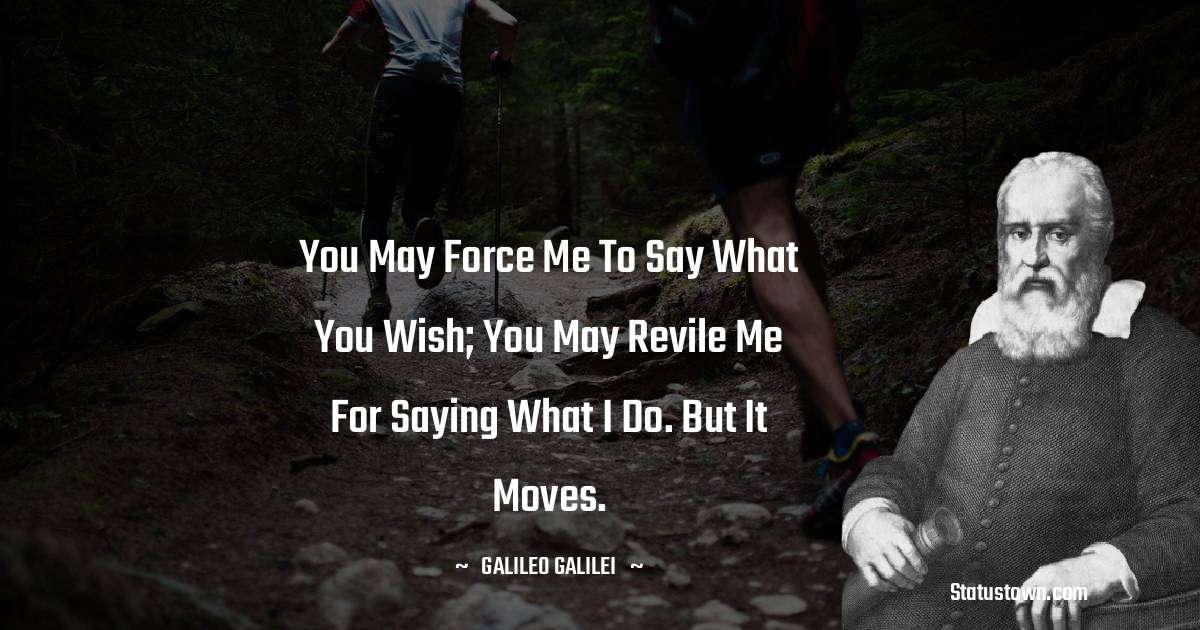You may force me to say what you wish; you may revile me for saying what I do. But it moves.