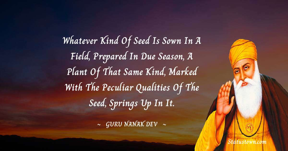 Whatever kind of seed is sown in a field, prepared in due season, a plant of that same kind, marked with the peculiar qualities of the seed, springs up in it.