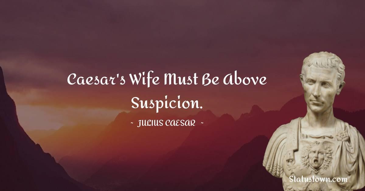 Caesar's wife must be above suspicion.