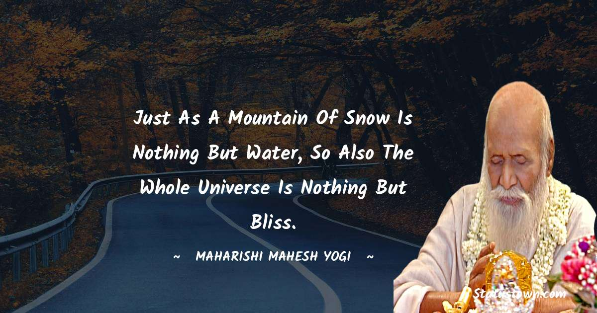 Just as a mountain of snow is nothing but water, so also the whole universe is nothing but bliss.