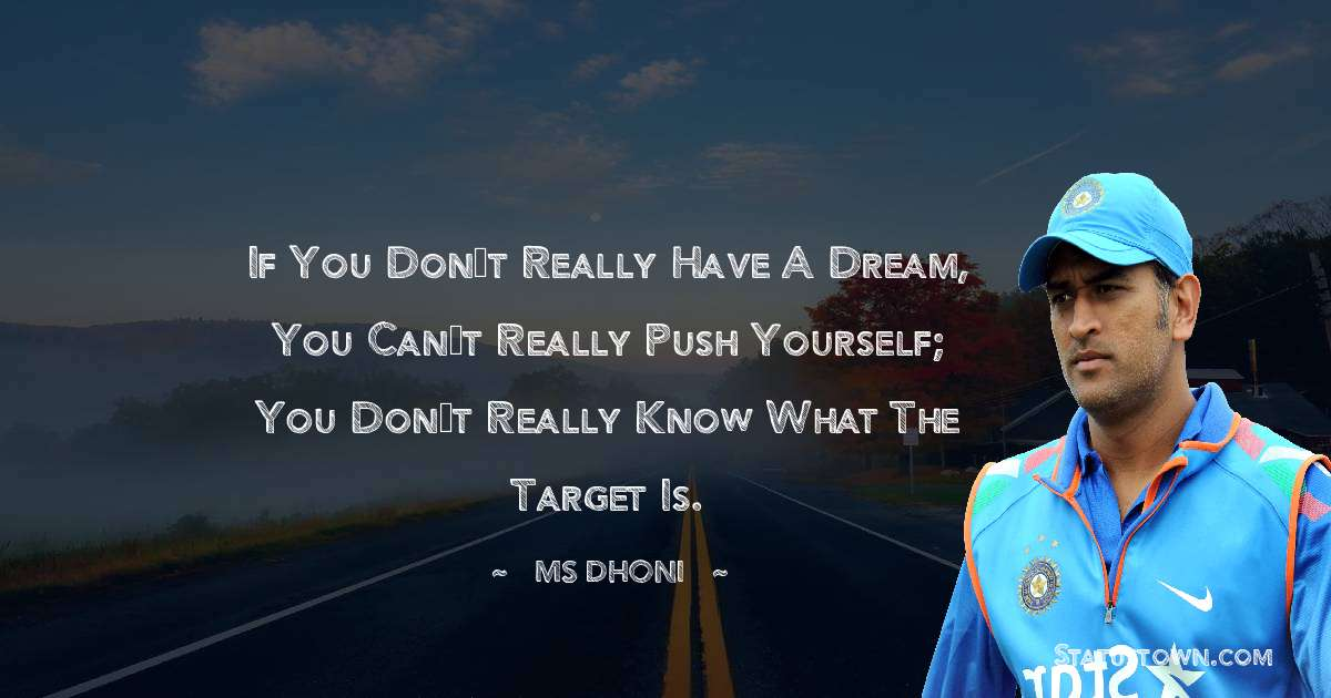 MS Dhoni Quotes - If you don't really have a dream, you can't really push yourself; you don't really know what the target is.