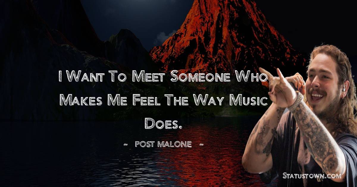 Post Malone Quotes - I want to meet someone who makes me feel the way music does.