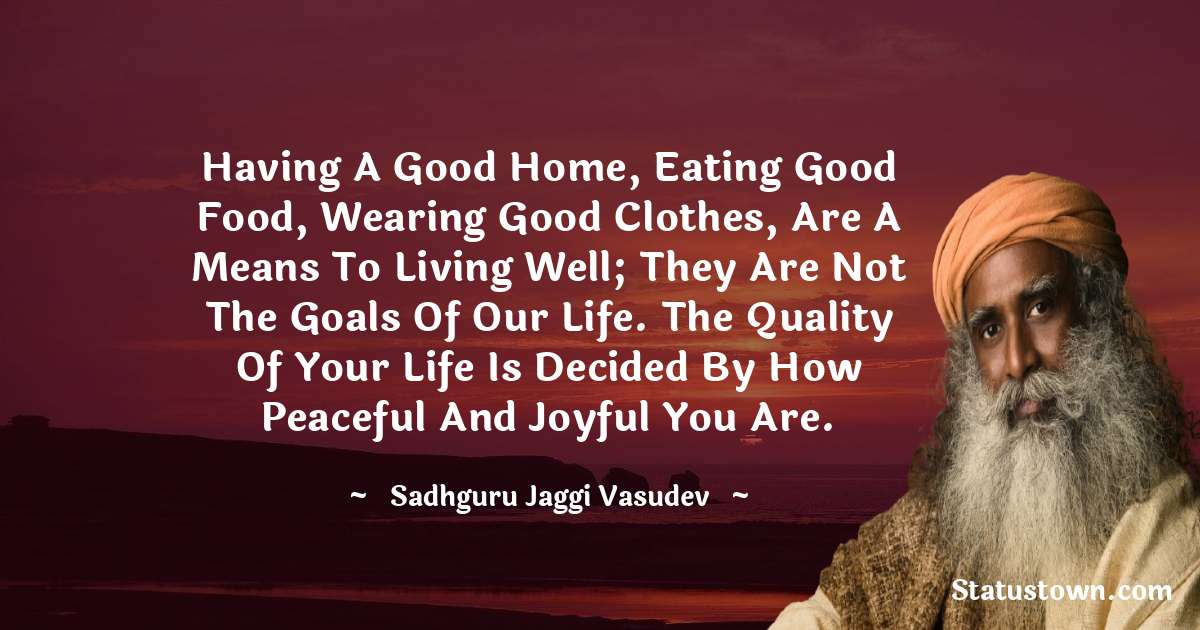 Having a good home, eating good food, wearing good clothes, are a means to living well; they are not the goals of our life. The quality of your life is decided by how peaceful and joyful you are.
