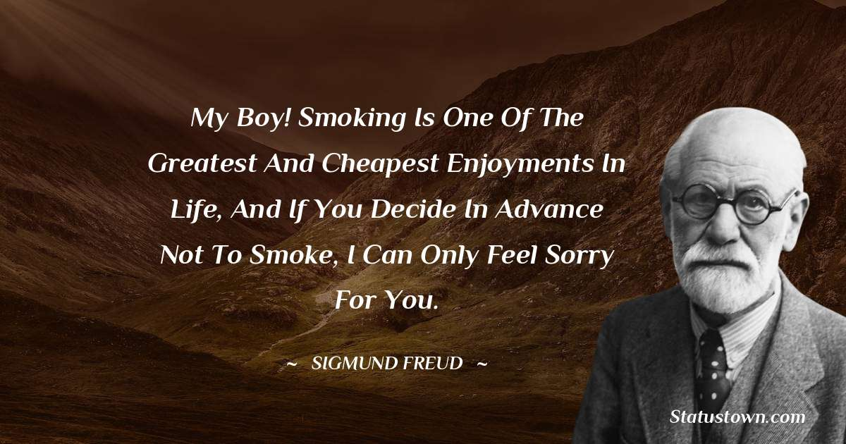 My boy! Smoking is one of the greatest and cheapest enjoyments in life, and if you decide in advance not to smoke, i can only feel sorry for you.