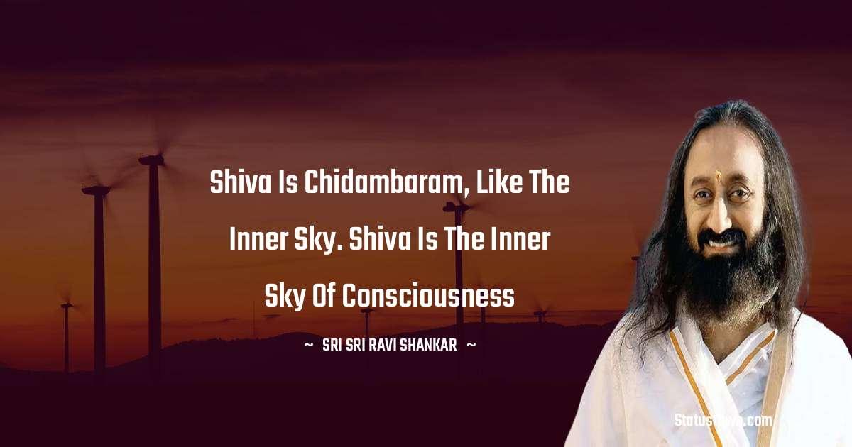Sri Sri Ravi Shankar Quotes - Shiva is chidambaram, like the inner sky. Shiva is the inner sky of consciousness