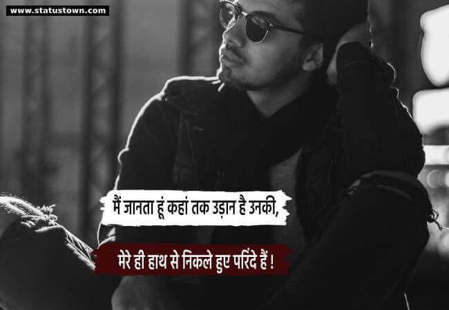 मैं जानता हूं कहां तक उड़ान है उनकी, मेरे ही हाथ से निकले हुए परिंदे हैं ! - Attitude Status in Hindi download